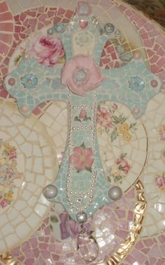 SHADES of AQUA shabby chic cottage cross  wall hanging broken china pink rose jewelry mosaic  3D. $45.00, via Etsy.