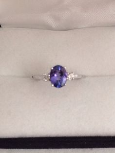 14K Fine Solid White Gold Stunning One Carat Oval Faceted Cabochon genuine Tanzanite Ring with Diamond Accents