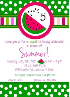 Printable Watermelon Baby Shower Invitation | Summer | Picnic ...
