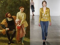 Viola, Twelfth Night; Brock Collection Fall 2016 - The boy-meets-girl is pastoral perfected. She bewilders in borrowed-from-the-bro jeans and beguiles in a plunging marigold satin blazer.