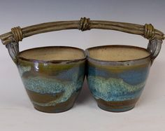 Double+Bowl+Server+with+Clay+Cane+Handle+by+gallagherpottery