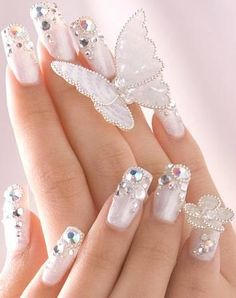 Bridal Nail Art Designs 2013 the most fascinating and beautiful bridal nails.We choose a few from the wide range ideas to complete your look for the most important day of your life. Nail Design Rosa, Gem Nail Designs, Elegant Nail Designs, Elegant Nails, Pretty Designs, Classy Nails, Floral Designs, Ongles Bling Bling, Bling Nails