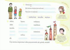 przymiotnik Polish Language, Map, Education, Speech Language Therapy, Therapy, Activities, Poland, Vocabulary, Location Map