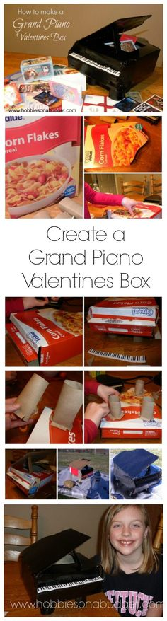Are you ready to create a grand piano Valentine's Day box for your child?  Here's a simple tutorial to create a grand piano Valentine's box using a cereal box, toilet paper rolls and black paint!   via @hobbiesbudget