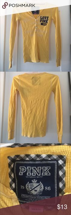 Victoria's Secret Love Pink Long Sleeve Tee Excellent condition besides a few snags in the neck. Shown in last pic. Size small. Sleep shirt or day shirt. PINK Victoria's Secret Tops Tees - Long Sleeve