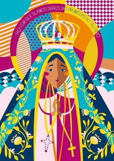 Nossa Senhora da Aparecida Floral Illustrations, Folk Art, Wallpaper, Illustration, Art, Vintage Posters, Pop Art, Prints, Sacred Art