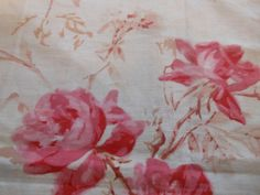 Antique French Shabby Roses Cotton Linen Fabric~ Pink Rose Red Brown ~ stunning