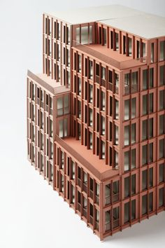 is a highly flexible mixed-use office building, located in the heart of Argent's King's Cross development. Maquette Architecture, Facade Architecture, Contemporary Architecture, Duggan Morris, Arch Model, Brick Facade, Brick Building, Brickwork, Urban