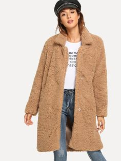To find out about the Pocket Side Solid Teddy Outerwear at SHEIN, part of our latest Outerwear ready to shop online today! Tweed, Cold Weather Jackets, New York Outfits, Bomber Coat, Teddy Coat, Autumn Winter Fashion, Winter Style, Fall Winter, Types Of Sleeves