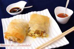Deliciosos rollitos de primavera chinos, elaborados con verduras frescas y pasta filo, con un resultado crujiente. Horneados son más ligeros y sanos ;)
