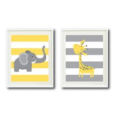 yellow and grey Safari Nursery Art Print Set of Two by GatheredNestDesigns on Etsy, $48.00
