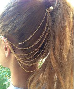 Ear Cuff Hair Chain Hair Accessory Kim by VintageMadeByDucky