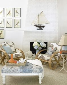 Art display idea: Gather reproduction bird prints and hang in a grid.    #livingroom #decorating
