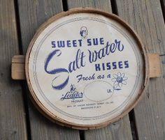 CANDY ADVERTISING SIGN, Vintage Novelty Co, Sweet Sue, Salt Water Kisses, primitive display, decor