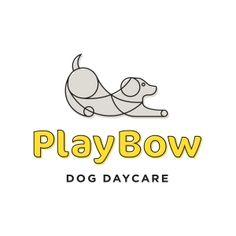 PlayBow Dog Daycare logo. || Jody Worthington Graphic Design. #logo #dog #daycare