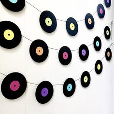 music decor Record Garland Got a music lover in your life? Combine this record garland with one of my piano garlands for the ultimate music geeks party. Made from 100 lb black shimmer stoc Music Theme Birthday, Disco Birthday Party, Music Themed Parties, 50s Theme Parties, Mouse Parties, 80s Theme, Surprise Birthday, Deco Disco, Music Party Decorations