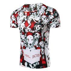 New Fashion 2016 Brand Men 3D Dog Pattern Printed T Shirt Short Sleeve Cotton T-shirt Men O-neck Tops Tees Men Clothing M-XXL