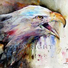 BALD EAGLE Painting- Watercolor Print via Etsy