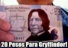 Snape en billete de 20 pesos