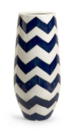 "Wayfair.com — HGTV Shop: Traditional Blue Bedroom with a Twist — IMAX Chevron Tall Vase (ceramic; 19.75"" H x 9"" D)"