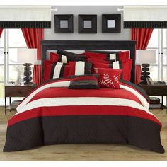 Lorena 24 Piece Complete Bedroom Set by Chic Home Red, Size: Queen Red Bedroom Design, Red Bedroom Decor, Bedroom Paint Colors, Bedroom Furniture, Home Furniture, Furniture Stores, Bedroom Décor, Furniture Chairs, Design Room