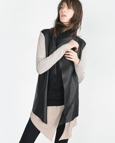 JACKET WITH FAUX LEATHER POINTED FRONT. Got it!! LOVE IT