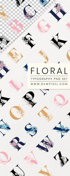 Floral Font, Floral Letters, Typography, Lettering, Free Illustrations, Personal Development, Design Projects, Creative Design, Design Elements