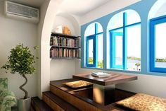 Interior:Mediterranean Interior Design Of The Study Room With Blue Windows And Indoor Plant Mediterranean Interior Design for Excellent and Modern Home with Great Furnishing Ideas