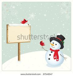 Snowman Cardinal Bird and Billboard. Xmas card. Perfect for different announcements, titles, messages, invitations, advertising... Christmas design.