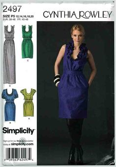 Simplicity Sewing Pattern 2497 Misses' Dress in three lengths with neckline variations by Cynthia Rowley Size: P5 12-14-16-18-20 Uncut