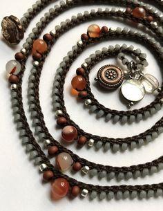 Crochet wrap bracelet / necklace beaded dark by CoffyCrochet