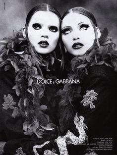 Kate Moss and Nadja Auermann by Steven Meisel for Dolce & Gabbana Fall/Winter 1992