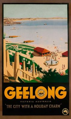 "Geelong by James Northfield - Published by Victorian Railways, Australia and the Geelong Publicity Council, this poster graphically demonstrates the validity of its by-line – ""The City with a Holiday Charm"". Looking north-west from Hearne and Eastern Beach Road, it captures the Eastern Beach Reserve and the beachfront where the Eastern Beach Swimming Enclosure now resides."