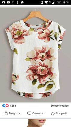 To find out about the Large Floral Print High Low Blouse at SHEIN, part of our latest Blouses ready to shop online today! Dressy Tops, Floral Tops, Floral Prints, Floral Blouse, Shirt Bluse, Fashion Sewing, Blouse Designs, Sleeve Styles, Blouses For Women