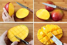 How To Select, Peel & Dice A Mango is part of Peeling a mango - Learn how to select, peel and dice a mango with this easy tutorial A few tips can have you enjoying that wonderful mango sweetness neatly Great Recipes, Whole Food Recipes, Favorite Recipes, Easy Recipes, Cooking With Ghee, Cooking Tips, Cooking Bacon, How To Cut A Mango, Gourmet