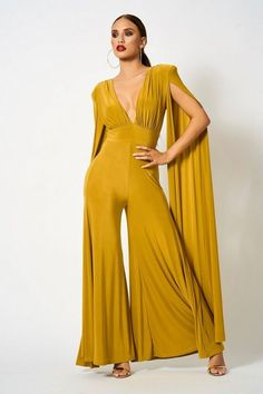 ade1cd76a784 Plunge Front Cape Jumpsuit by Club L