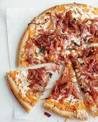 Sweet potato, balsalmic onion and salami pizza