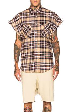 Shop for Fear of God Sleeveless Flannel in Khaki at FWRD. Fashion Men, Justin Bieber, Flannel, Mac, Men Casual, Plaid, Hoodies, Mens Tops, T Shirt