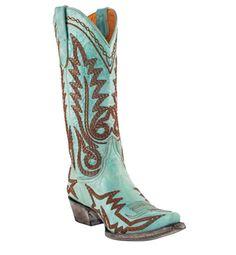 Old Gringo Nevada cowboy boot in aqua.