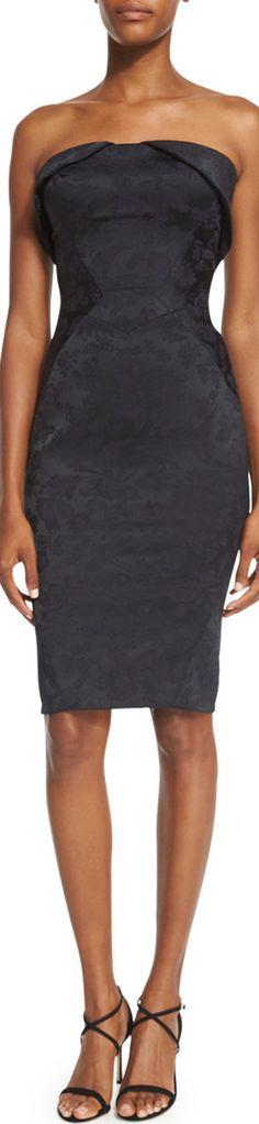 Zac Posen Strapless Fold-Over Jacquard Cocktail Dress, Black
