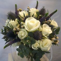 Roses with eryngium and brunnia