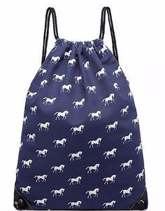 A navy blue drawstring bag with a white horse print excellent quality PU backed…
