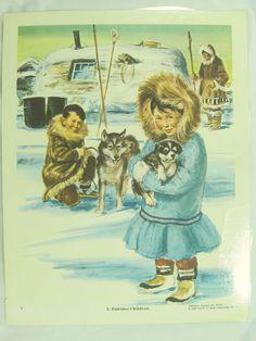 Vintage Art Print Poster Eskimo Children Dogs Inuit Huskies Family #Vintage