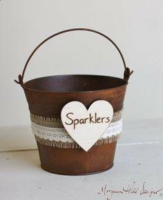Wedding Sparklers Bucket Rustic Wedding Decor Burlap Lace Barn Decor (Item Number 140328) NEW ITEM on Etsy, $45.00