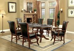 Furniture of america melina traditional game table with interchangeable top and 6 chairs Interior Design Games, Modern Interior Design, Dining Room Table, A Table, Dining Rooms, Traditional Game Tables, Game Room Furniture, Table Games, Room Set