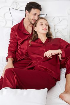 Soft Pure Silk Couple Pajamas Sets#hisandher #pajamaset #pajamassatin #silkpajamas