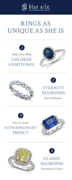 These alternative engagement rings are as unique as your love! From colored diamonds to brilliant eternity rings, you will find the one that's right for her at bluenile.com.