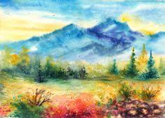 Blue Mountains by AnnaArmona on deviantART ~ watercolor landscape
