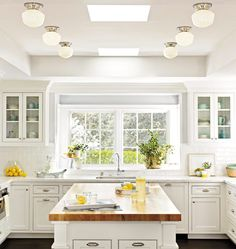 All White Kitchen - Design photos, ideas and inspiration. Amazing gallery of interior design and decorating ideas of All White Kitchen in kitchens by elite interior designers - Page 3 White Kitchen Cabinets, Kitchen Redo, New Kitchen, Kitchen Dining, Glass Cabinets, Kitchen Sink Window, Kitchen Windows, Kitchen Ideas, Kitchen Island