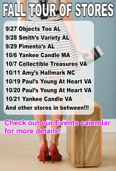 The start of our Fall Tour Of Stores. We will be adding stores. We might be coming to your town!